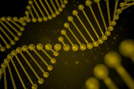 guanine: DNA strand on black background, DNA helix, 3D illustration Stock Photo