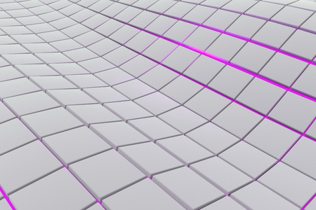 Wavy surface made of white cubes with glowing background, abstract background, 3d render illustration Stock Photo
