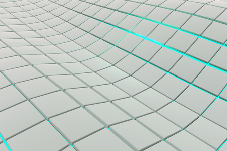 perpendicular: Wavy surface made of white cubes with glowing background, abstract background, 3d render illustration Stock Photo
