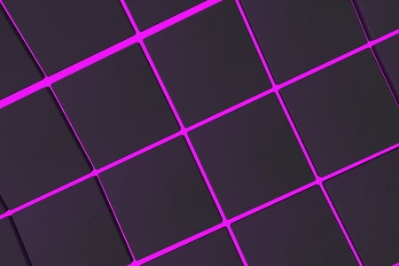 Wavy surface made of black cubes with glowing background, abstract background, 3d render illustration