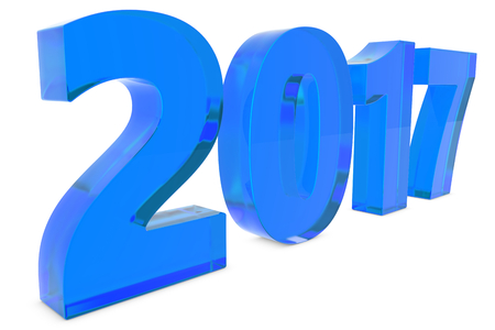 next year: New 2017 year glass figures lying on the floor with shadow isolated on white background. 3D rendering illustration of 2017 number