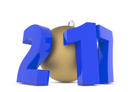 prosperidad: Nuevas cifras del año 2017 con la bola de plástico decoración de oro aisladas sobre fondo blanco, 3d hacer ilustración