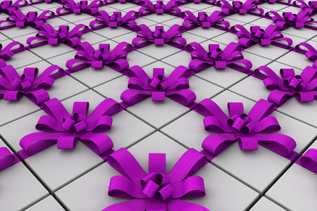 White gift boxes with ribbon bow, 3D render illustration