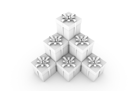 White gift boxes with ribbon bow isolated on white background, 3D render illustration Stock Photo