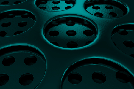 grille: Circular speaker grille, abstract background, 3D render illustration Stock Photo