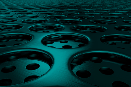 titanium plate: Circular speaker grille, abstract background, 3D render illustration Stock Photo