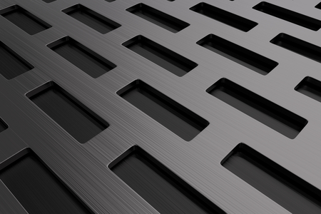 grille: Rectangular metal grate, speaker grille, abstract background, 3D render illustration