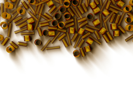 Pile of metal springs and coils of different radius, abstract industrial background, 3D render illustration