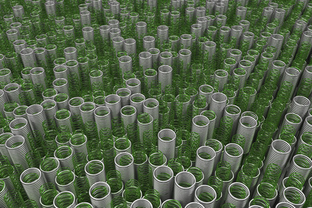 Glass and metal springs and coils of different radius, abstract background, 3D render illustration Stock Photo