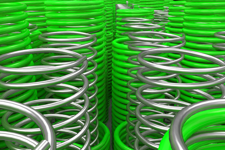 Metal and plastic springs and coils of different radius, abstract background, 3D render illustration Stock Photo