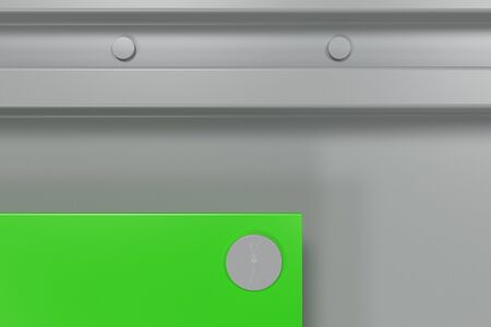 rivets: Abstract metal banner. Rectangular colored plate on white background with rivets. 3D render illustration