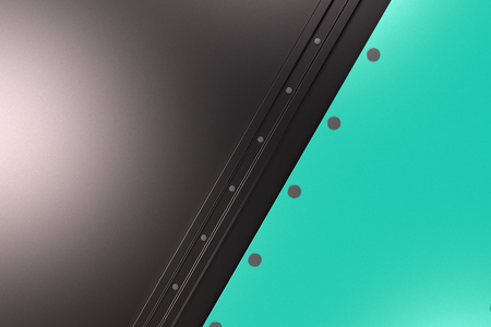 rivets: Abstract metal banner. Rectangular colored plate on black background with rivets. 3D render illustration