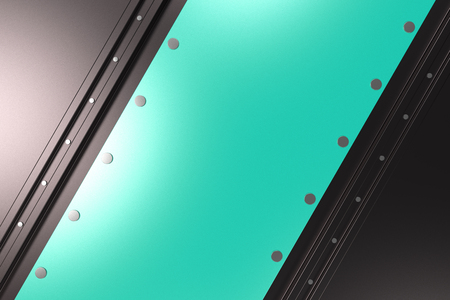 Abstract metal banner. Rectangular colored plate on black background with rivets. 3D render illustration