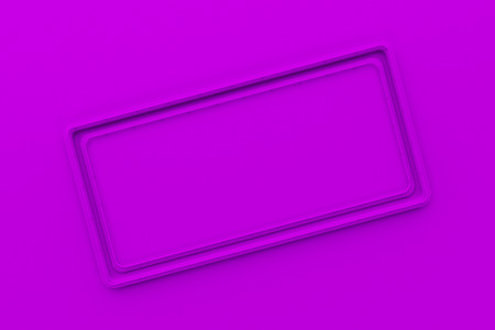 Abstract colored banner. Rectangular colored plate with corners from tubes on colored background. 3D render illustration