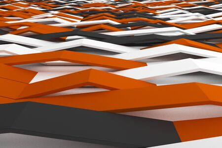 Abstract 3D rendering of matte plastic waves. Bended stripes background. Reflective surface pattern. 3D render illustration Stock Photo