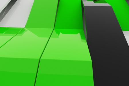 Abstract 3D rendering of gloss plastic waves. Bended stripes background. Reflective surface pattern. 3D render illustration Reklamní fotografie