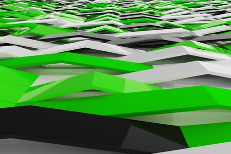 Abstract 3D rendering of gloss plastic waves. Bended stripes background. Reflective surface pattern. 3D render illustration Stock Photo