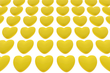 Pattern of 3D hearts isolated on white background. Valentines day background. 3D render illustration