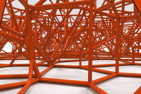 Abstract 3d voronoi lattice on white background. Atom grid. Chaotic line structure. 3D render illustration