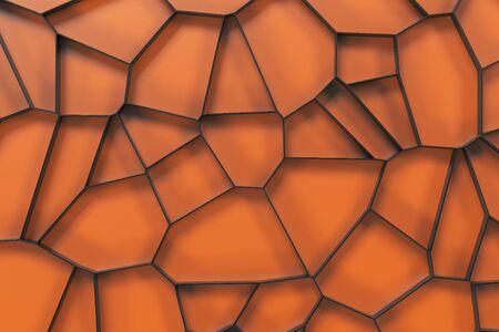 Abstract black 3d voronoi grate on colored background. Speaker grille. Chaotic line structure. 3D render illustration