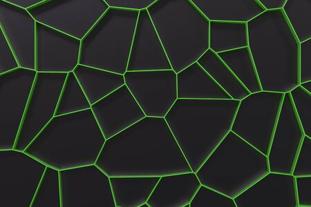 Abstract colored 3d voronoi grate on black background. Speaker grille. Chaotic line structure. 3D render illustration Stock Photo