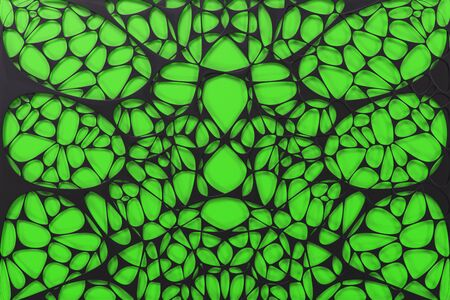 Black 3d voronoi organic structure on colored background. Chaotic structure. 3D render illustration Stock Photo