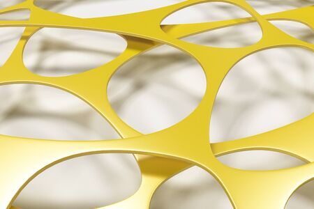 Colored 3d voronoi organic structure on white background. Chaotic structure. 3D render illustration Stock Photo
