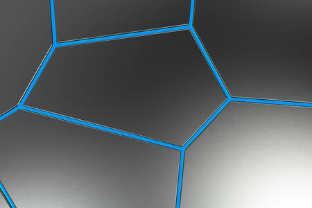 earthquake crack: Black fractured surface with colored glowing lines. Abstract 3d background with extruded polygons. 3D render illustration