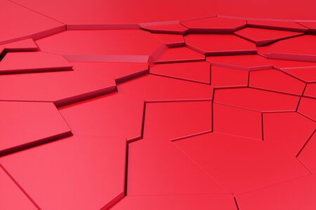 earthquake crack: Colored fractured surface. Abstract 3d background with extruded polygons. 3D render illustration Stock Photo