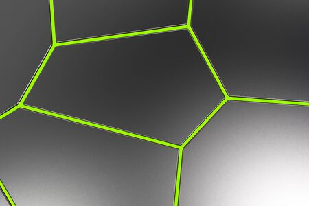 Black fractured surface with colored glowing lines. Abstract 3d background with extruded polygons. 3D render illustration