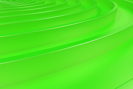 Green concentric spiral on green background. Abstract geometric background. 3D rendering illustration