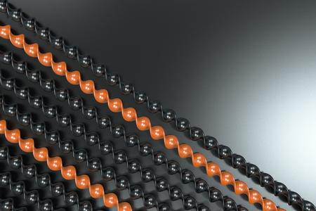 Black and orange plastic spiral sticks on black background. Abstract background. 3D render illustration
