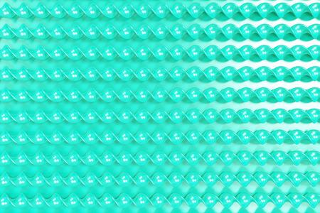 Blue plastic spiral sticks on blue background. Abstract background. 3D render illustration Stock Photo