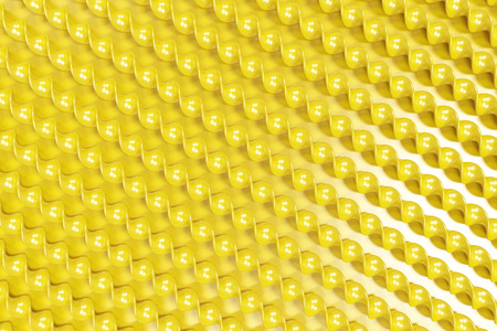 Yellow plastic spiral sticks on yellow background. Abstract background. 3D render illustration