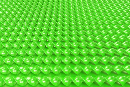 Green plastic spiral sticks on green background. Abstract background. 3D render illustration