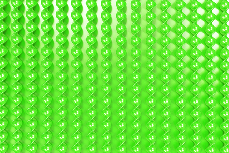 Green plastic spiral sticks on green background. Abstract background. 3D render illustration