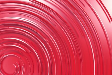 Red concentric spiral on red background. Abstract geometric background. 3D rendering illustration
