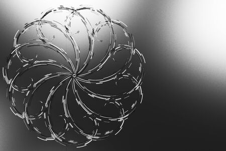 Black concentric spiral flower shape with white glowing elements on black background. Abstract geometric background with glowing lines. 3D rendering illustration