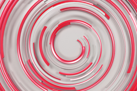 White concentric spiral with red glowing elements on white background. Abstract geometric background with glowing lines. 3D rendering illustration Stock Photo