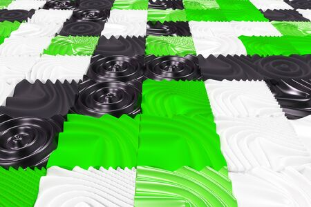 Pattern of black, white and green cubes with deformed surfaces. Wall of deformd cubes. Abstract background. 3D rendering illustration. Stock Photo