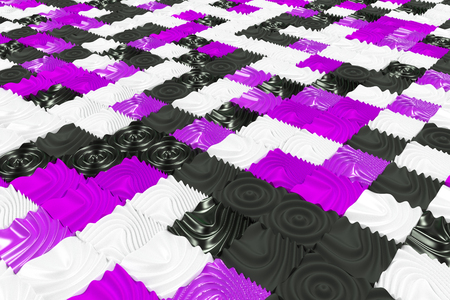 Pattern of black, white and violet cubes with deformed surfaces. Wall of deformd cubes. Abstract background. 3D rendering illustration.