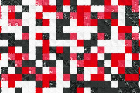 Pattern of black, white and red cubes with deformed surfaces. Wall of deformd cubes. Abstract background. 3D rendering illustration.