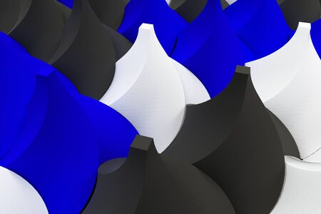 electronic circuit: Pattern of black, white and blue twisted pyramid shapes. Abstract background. 3D rendering illustration.