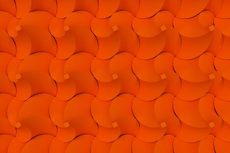 electronic circuit: Pattern of orange twisted pyramid shapes. Abstract background. 3D rendering illustration.