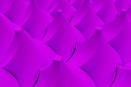 electronic circuit: Pattern of violet twisted pyramid shapes. Abstract background. 3D rendering illustration.