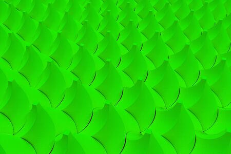 electronic circuit: Pattern of green twisted pyramid shapes. Abstract background. 3D rendering illustration. Stock Photo