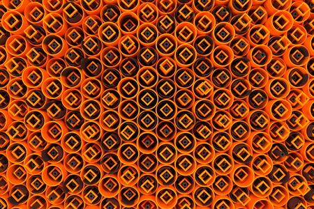 Pattern of colored tubes, repeated square elements, black hexagons and surfaces. Abstract background. 3D rendering illustration. Stock Photo