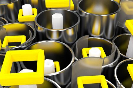 Pattern of brushed metal tubes, white hexagons, repeated square elements and blurred glass surfaces. Abstract background. 3D rendering illustration. Stock Photo