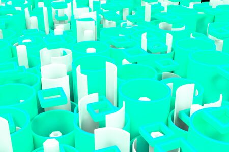 Pattern of colored tubes, repeated square elements, white hexagons and surfaces. Abstract background. 3D rendering illustration.