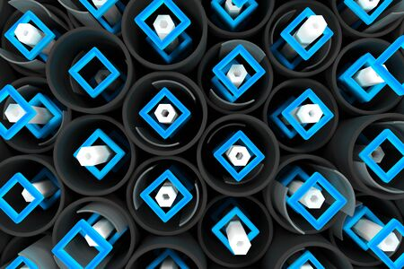 Pattern of black tubes, white hexagons, repeated square elements and blurred glass surfaces. Abstract background. 3D rendering illustration.